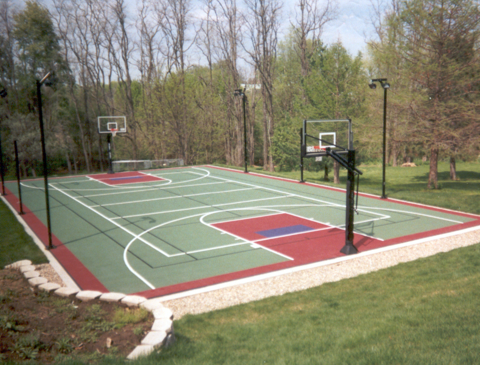 Multi sport game courts lake shore sport court for Backyard sport court